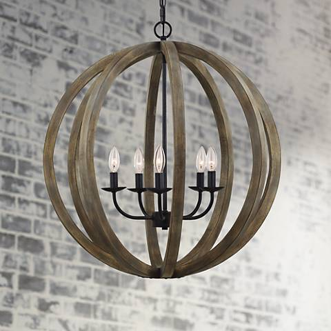 Feiss Allier 26 Quot Wide Weathered Oak Wood Pendant Light
