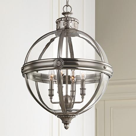 "Feiss Adams 19 3/4"" Wide Antique Nickel Pendant Light"