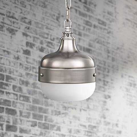 "Feiss Cadence 8"" Wide Polished Nickel Mini Pendant Light"