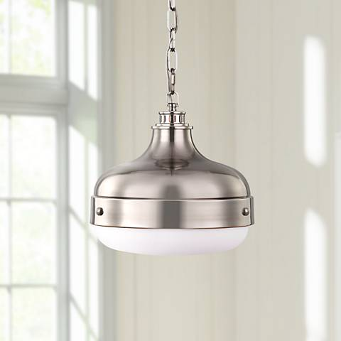 "Feiss Cadence 13"" Wide Polished Nickel Mini Pendant Light"