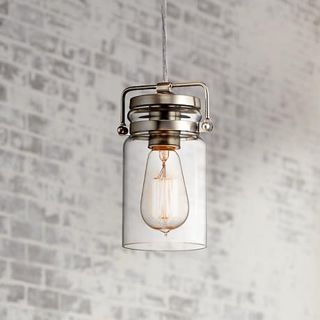 "Kichler Brinley 4 3/4"" Wide Brushed Nickel Mini Pendant"