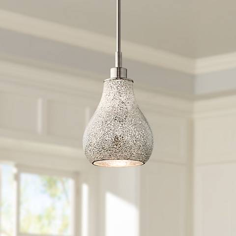 "Kichler Crystal Ball 8"" Wide Silver Mosaic Mini Pendant"
