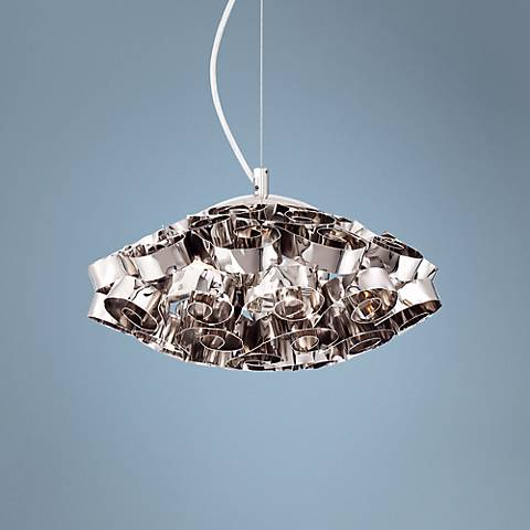 "Eurofase Grace Chrome 14"" Wide Chrome Pendant"
