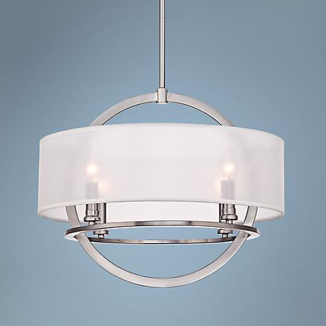 "Quoizel Portland 20"" Wide Brushed Nickel Pendant"
