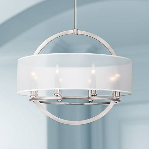 "Quoizel Portland 28"" Wide Brushed Nickel Pendant"