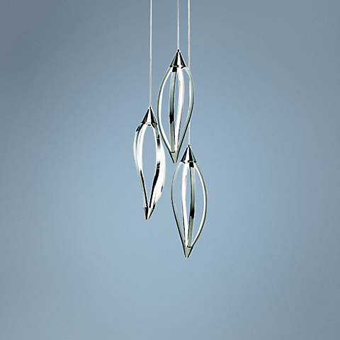 "Elan Meridian 28 3/4"" Wide Chrome Head Cluster Pendant"