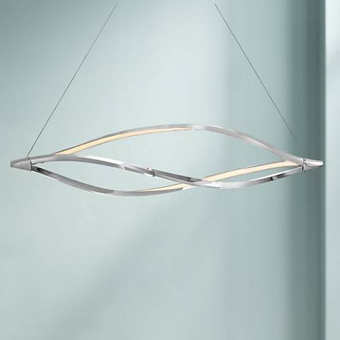 "Elan Meridian 53"" Wide Chrome Linear Island Chandelier"