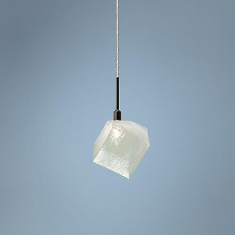 "Elan Ice Kubez 6 3/4"" Wide Chrome Halogen Mini Pendant"