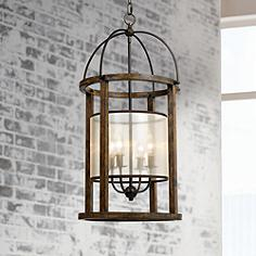 mission 16 wide wood round 4 light pendant chandelier cal lighting wood chandelier