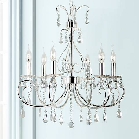 "Miika 23"" Wide Polished Chrome 6-Light Chandelier"