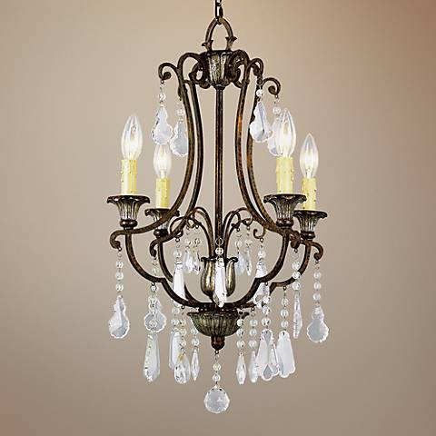"Bonne 16"" Wide Antique Bronze Metal 4-Light Chandelier"