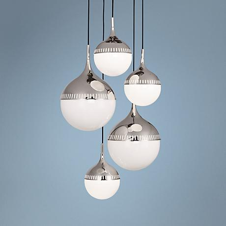 "Jonathan Adler Rio 27"" Wide Nickel Globe Chandelier"