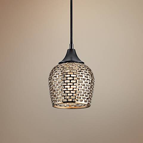 "Kichler Annata 6 1/4"" Wide Gold Ceramic Mini Pendant"