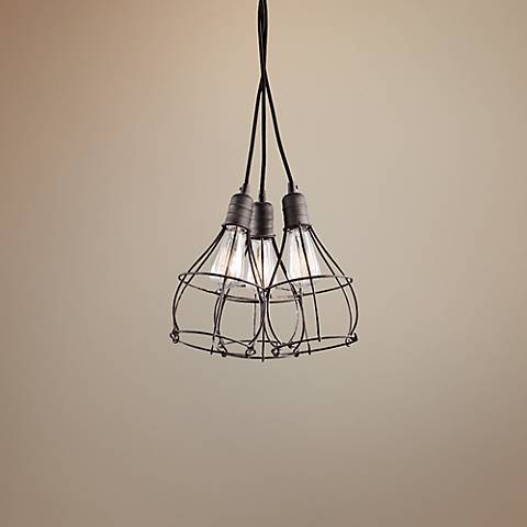 "Kichler Industrial Cage 15 1/4"" Wide Zinc Pendant Light"