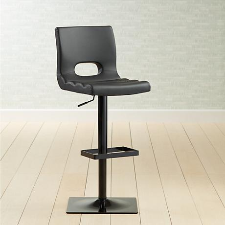 Donovan Black Faux Leather Adjustable Barstool 6p822