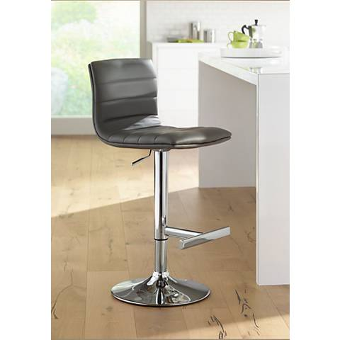 Motivo Gray Faux Leather Adjustable Barstool