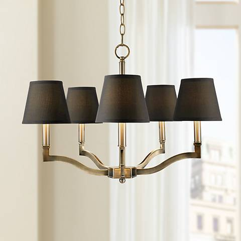"Waverly 25"" Wide Aged Brass Silken Black Chandelier"