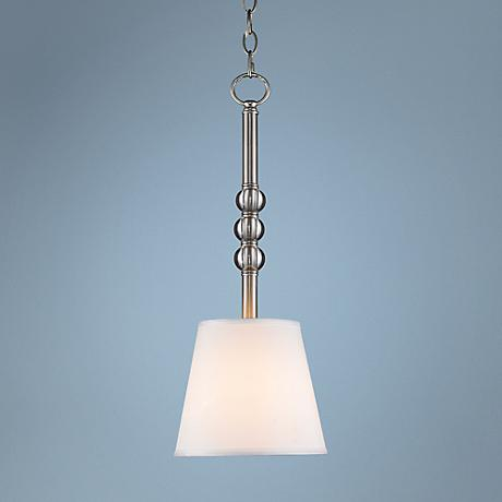 "Waverly 7"" Wide Pewter Parchment Mini Pendant"