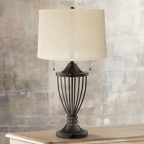 Cream Burlap Bronze Urn Table Lamp