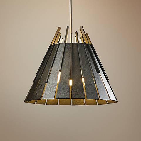 "Hubbardton Forge Finn 19 1/2"" Wide Dark Smoke Pendant"