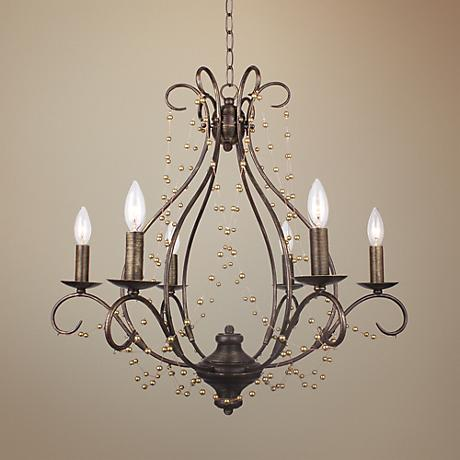 "Crystorama Angelina 26"" Wide English Bronze Chandelier"