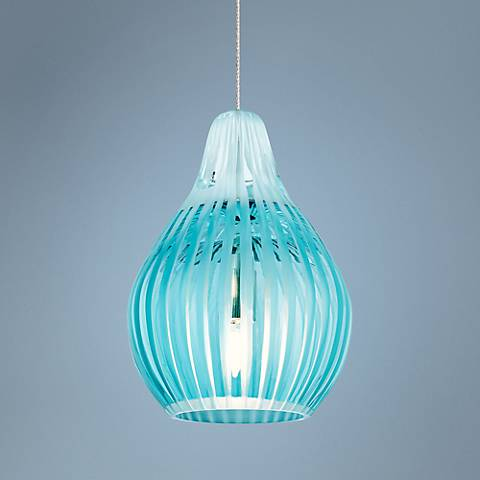 Tech Lighting FreeJack Avery Aqua Glass Mini-Pendant