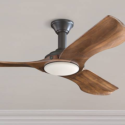 "56"" Minimalist Matte Black LED Damp DC Ceiling Fan"