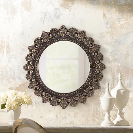 "Castana Bronze Wheat Sheaves 21 1/4"" Round Wall Mirror"