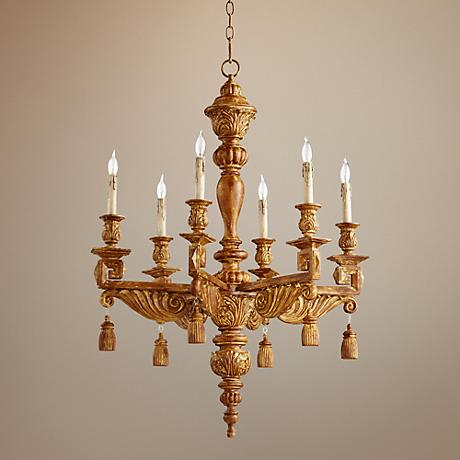 "Brenton 28"" Wide French Umber 6-Light Chandelier"