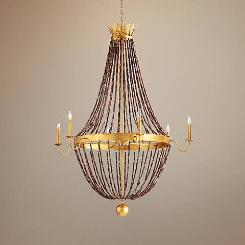 "Alessia 44"" Wide Gold Leaf 6-Light Iron Chandelier"