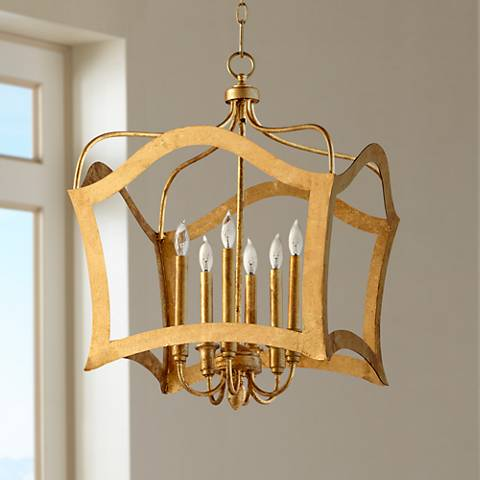 "Milan 25"" Wide Gold Leaf 6-Light Iron Pendant"