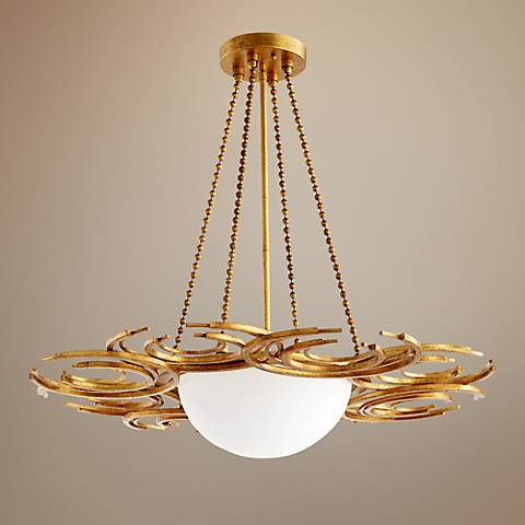 "Vivian 30"" Wide Gold Leaf Iron Glass 3-Light Pendant"
