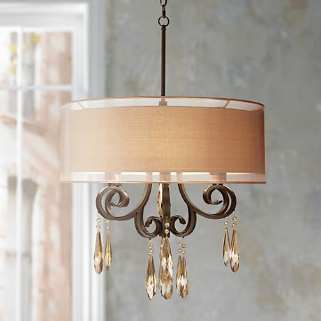 "Maybel Double Shade 24"" Wide Bronze Pendant Light"