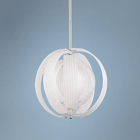 "Proteus 23"" Wide Clear Ice Glass and Iron Pendant"
