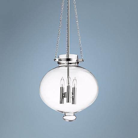 "Cydney 13 3/4"" Wide Chrome Clear Glass Pendant"