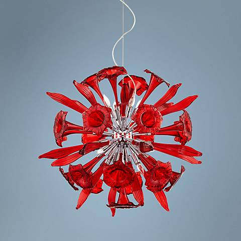 "Small Remy 33"" Wide Red Murano Glass Pendant"