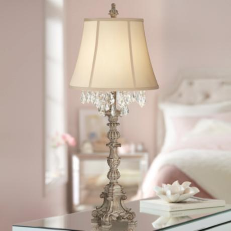 Duval French Crystal Candlestick Table Lamp 6t439