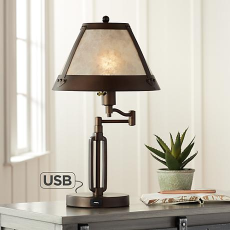 samuel swing arm mica shade desk lamp with usb port 6t629. Black Bedroom Furniture Sets. Home Design Ideas