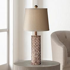 Gisele Gold Wash Lattice Column Table Lamp