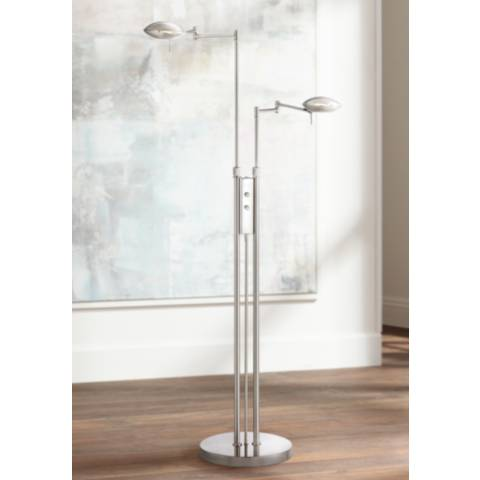 Possini Euro Journey Satin Nickel Swing Arm LED Floor Lamp 6V800 Lamps Plus