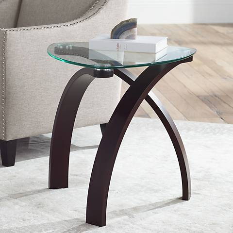 "Gianna Espresso and Glass 23 1/2"" Wide End Table"