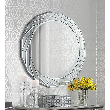 "Orrick Braided Trim 33"" Round Wall Mirror"