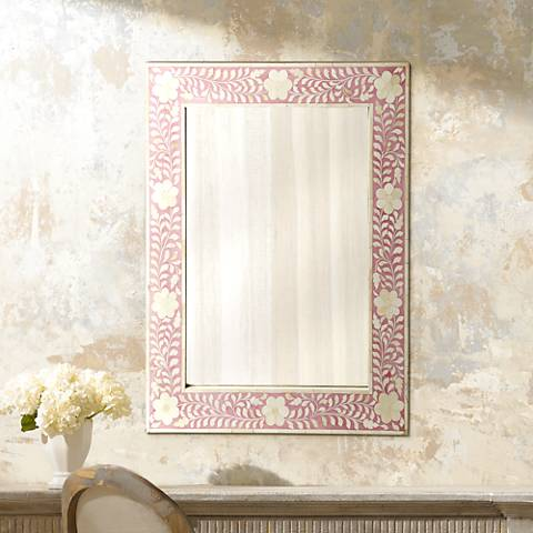 "Vivienne Pink Bone Inlay 24"" x 30"" Wall Mirror"