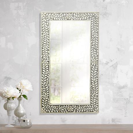 "Laviano Gray Bone Inlay 20 1/2"" x 36 1/2"" Wall Mirror"