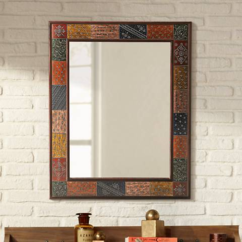"Santi Hand-Painted 24"" x 30 1/2"" Wall Mirror"