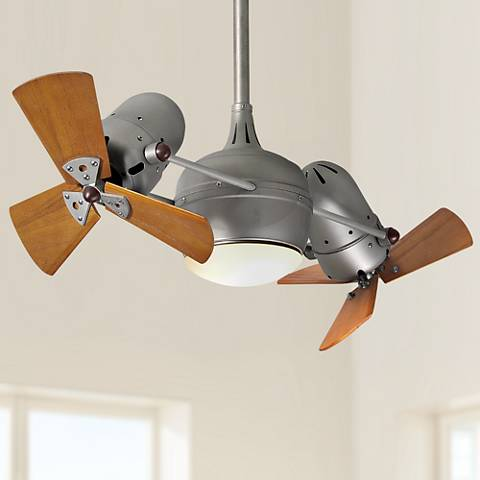 "41"" Dagny Nickel and Mahogany Lighted Dual Ceiling Fan"