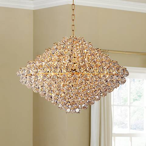 "Vienna Full Spectrum Essa 32"" Wide Gold - Crystal Pendant"