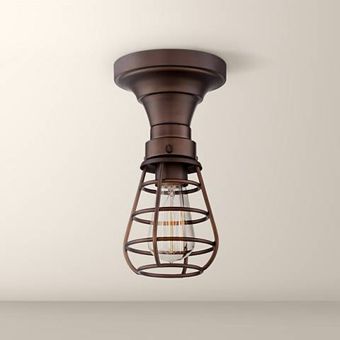 "Bendlin Industrial 5 1/2""W Oil-Rubbed Bronze Ceiling Light"