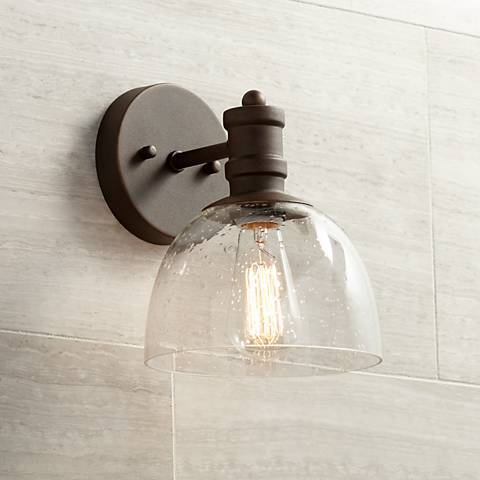 "Bleecker Industrial 9 1/4"" High Bronze Wall Sconce"