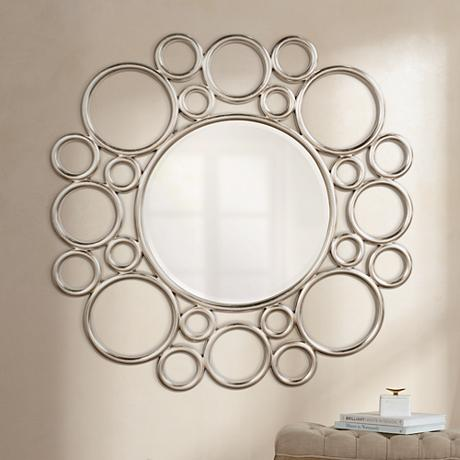 "Howard Elliott Cirque 53"" Round Silver Leaf Wall Mirror"